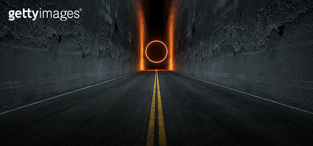 Sci Fi Futuristic Asphalt Tunnel Corridor Garage Cement Road Double Lined Concrete Walls Underground Dark Night Car Show Neon Laser Circle Glowing Orange Arc Virtual Stage Showroom 3D Rendering