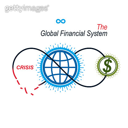 The Crisis in Global Financial System conceptual unique vector symbol. Banking system. The Global Financial System. Circulation of Money.