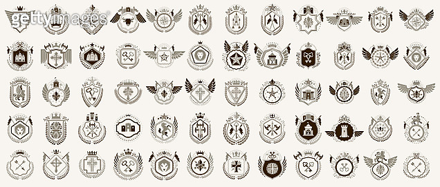 Heraldic Coat of Arms vector big set, vintage antique heraldic badges and awards collection, symbols in classic style design elements, family or business signs.
