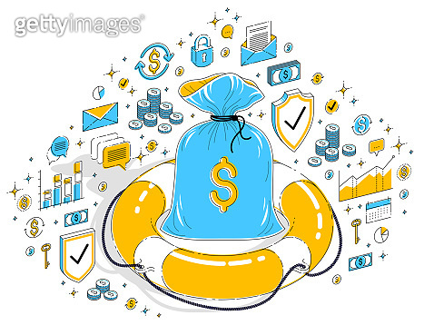 Financial aid concept, Life buoy lifebelt with big cash money bag isolated on white background. Isometric 3d vector finance illustration with icons, stats charts and design elements.