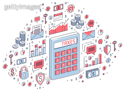 Calculator idea isolated on white background, tax concept. Isometric 3d vector finance illustration with icons, stats charts and design elements.
