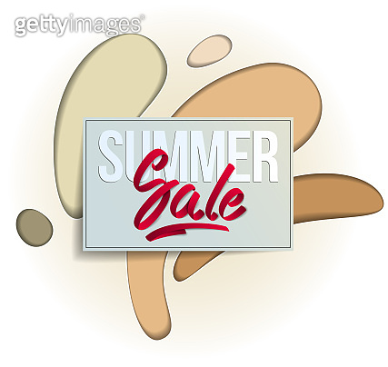 Summer sale flyer template with lettering, poster, card, banner, advertising design, vector modern style cartoon paper cut 3d illustration.