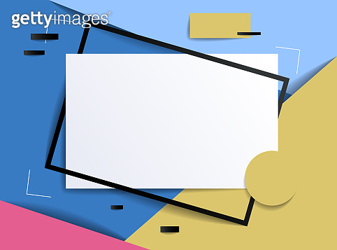 Frame with copy space for text design template, flyer, poster, card, banner, advertising layout, moderate colors and geometric shapes vector modern style paper cut 3d illustration.