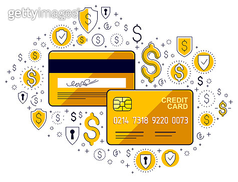 Credit card and financial icon set, banking credit or deposit, shopping and marketplace payments, online business cincept, financial activity vector design.