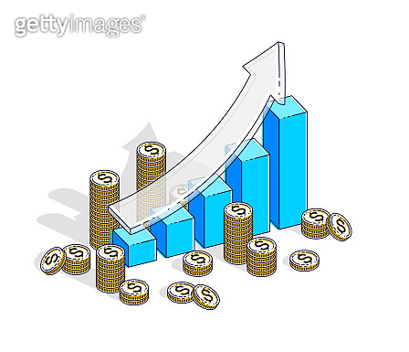 Success and income growing up concept, growth chart stats bar with cash money stack isolated on white background. Vector 3d isometric business and finance illustration, thin line design.