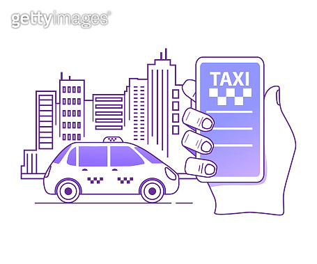 Online taxi cab service order mobile application concept.Hand holding smart phone app .City silhouette with skyscrapers.