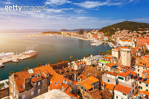 Split waterfront and Marjan hill aerial view, Dalmatia, Croatia. UNESCO World Heritage Site. Split panoramic view of town, Dalmatia, Croatia.