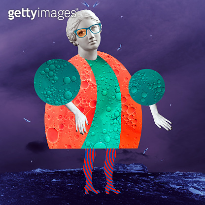 Modern conceptual art poster with a funny doll in a massurrealism style. Contemporary art collage.