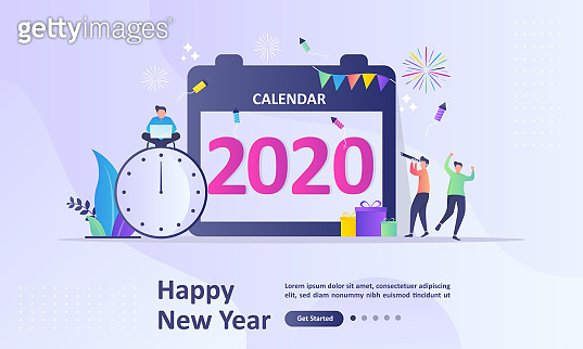 Happy New Year 2020 concept, greeting card with people character flat design, Suitable for web landing page, ui, mobile app, banner template. Vector Illustration