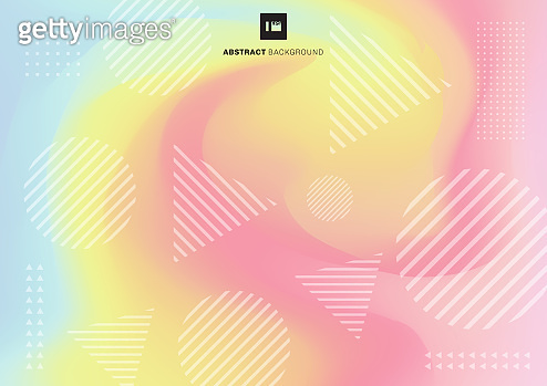 Abstract geometric circle and triangle shape pattern on fluid pastel color background.