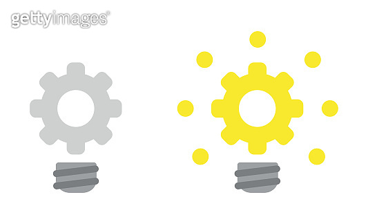 Vector icon set of gear light bulb, grey and glowing.