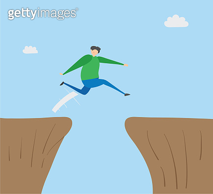 Man jumping over abyss, hand-drawn vector illustration.