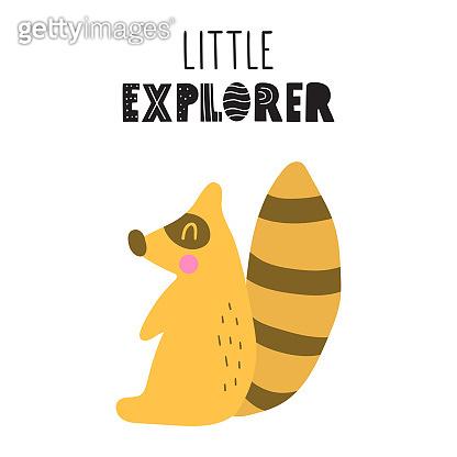 Raccoon. Little explorer. Hand drawn icon. Simple vector illustration design in scandinavian, nordic style.