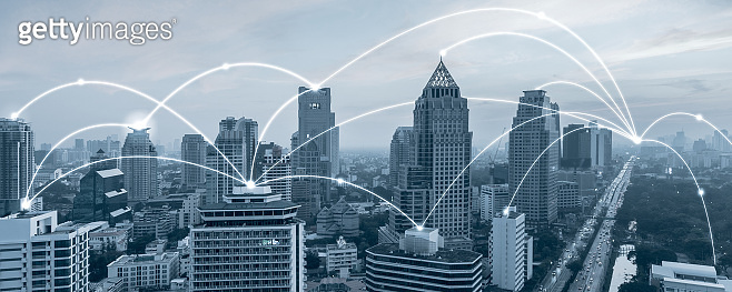 Bangkok city with connection  network concept,Futuristic technology.internet of things.fin tech.smart city.banner background with copy space