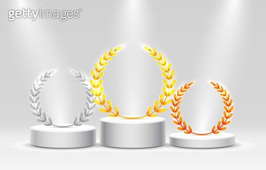Stage podium with lighting, Stage Podium Scene with for Award Ceremony on gray Background, Vector illustration