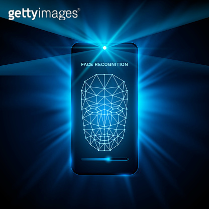 Face Recognition Phone cover color design modern background. Vector illustration