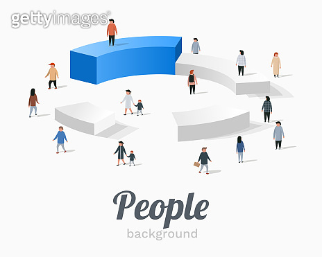 Group of people standing on pie chart conceptual.