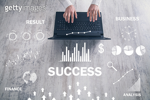 Success word with a charts. Business concept