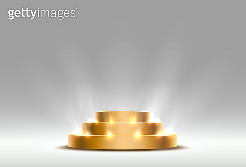 Stage podium golden with lighting, Stage Podium Scene with for Award Ceremony on gray background, Vector illustration