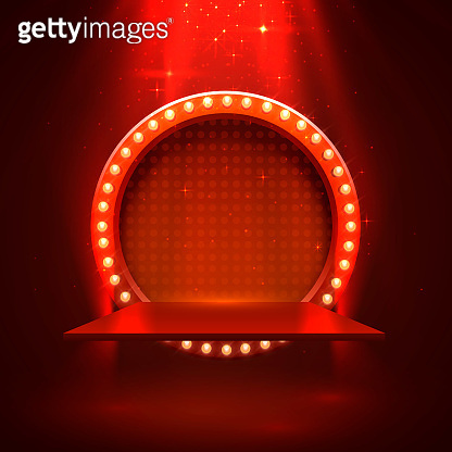 Stage podium with lighting.