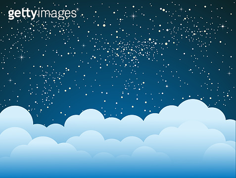 Starry Sky with Blue Clouds. Shining Stars Sky.