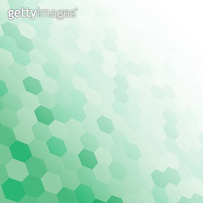 The green random hexagon mosaic tiles background.