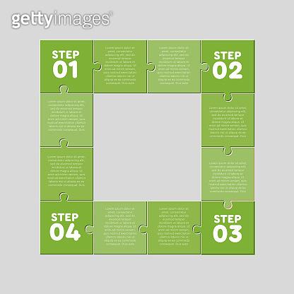 Four jigsaw puzzle square diagram info graphic