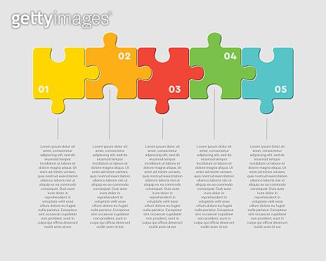 Five pieces puzzle square line info graphic