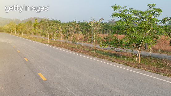 outdoor old empty concrete road at Thailand