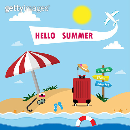 Summer Background with Travel Vacation Elements.Trip Design. Holiday Go on vacation, sea, beach, diving, luggage, camera and plane.