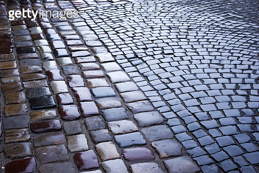 Street of granite stones in the old town