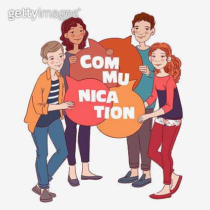 Group of young people with colorful dialog speech bubbles. Communication, teamwork and connection vector concept