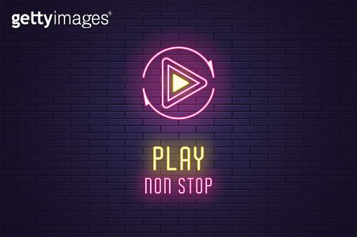 Neon icon set of Play non Stop button, vector sign