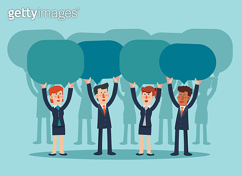 Successful and smiling businessman and business woman with colorful dialog speech bubbles. Vector illustration of business characters. Communication, teamwork and connection concept
