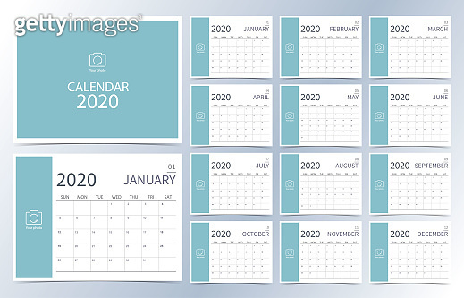 Business calendar 2020.light green monthly calendar can be used for printable graphic and website