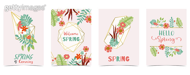 Geometry gold spring invitation card with flower,leaf and frame