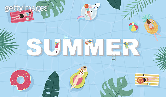 Summer background with tiny people,umbrellas, ball,swim ring,sunglasses,surfboard,hat,sandals in the top view beach.Vector summer banner