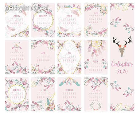 Doodle pastel boho calendar set 2020 with feather,gold geometric,wild,flower,leaves for children.Can be used for printable graphic.Editable element