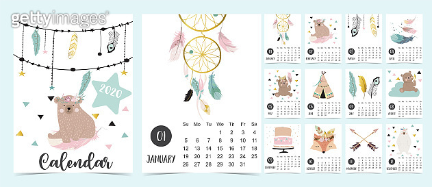 Doodle pastel 2020 calendar set with dreamcatcher,feather,bear,fox for children.Can be used for printable graphic.Editable element