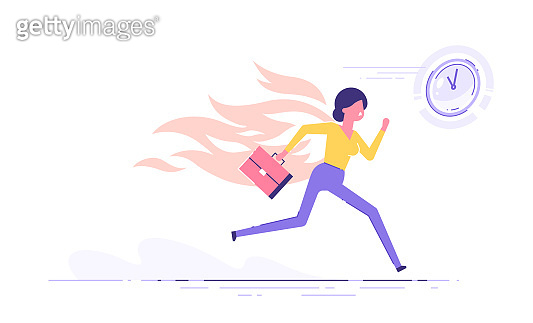 Businesswoman character running with back on fire. Deadline and rush hour. Vector illustration.