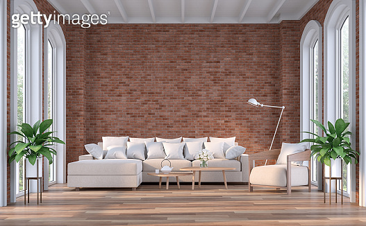 Modern contemporary living room with empty red brick wall 3d render