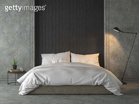 Modern loft bedroom with black wood plank 3d render