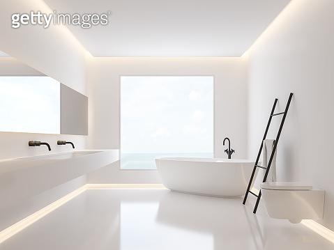 Minimalist bathroom with sea view 3d render
