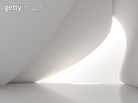 Modern white space interior empty room with smooth shape 3d render