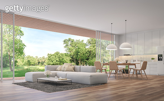 Modern Living, dining room and kitchen with garden view 3d render