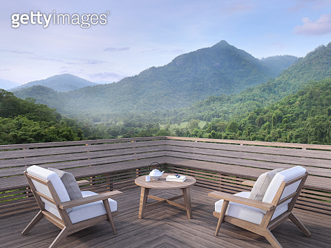 Morning mountain view on a wooden balcony 3d render