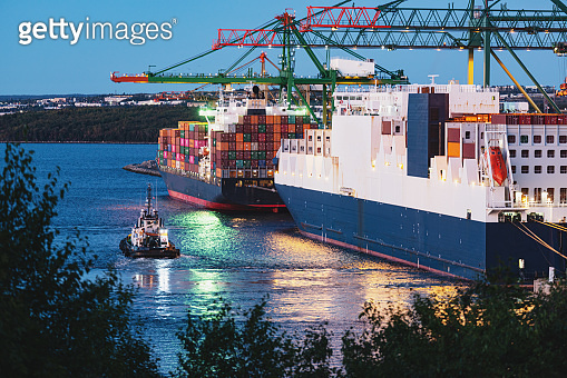 Container Ship Nearing Port