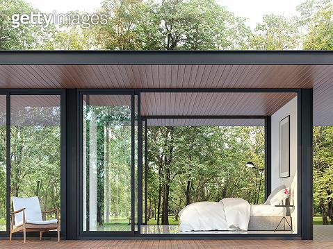 Modern bedroom in glass house 3d render