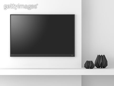 Minimal style empty tv screen mockup 3d render