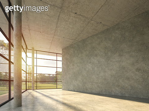 The interior space in the modern loft building with polished concrete 3d render